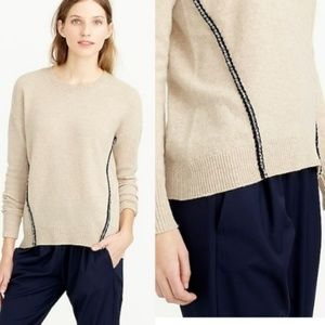 J. Crew 100% wool brown metallic braid sweater XS